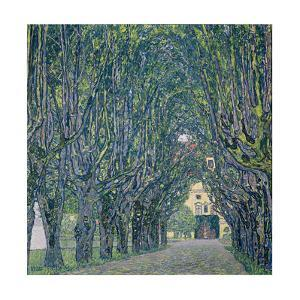 Tree-lined road leading to the manor house at Kammer, Upper Austria (1912) by Gustav Klimt