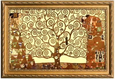Gustav Klimt Tree of Life Poster with Gilded Faux Frame Border