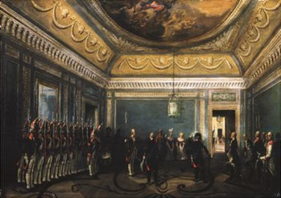 Changing of the Preobrazhensky Regiment Guards in the Gatchina Palace at the Time of Paul I, 1845