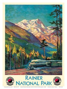 Mount Rainier National Park - Stampede Pass, Washington USA - Northern Pacific Railway by Gustav Wilhelm Krollmann