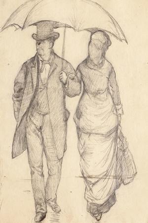 Man and Woman under an Umbrella (Study for Paris Street, Rainy Day), 1877