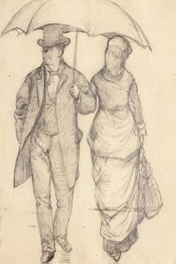 Man and Woman under an Umbrella (Study for Paris Street, Rainy Day), 1877 by Gustave Caillebotte