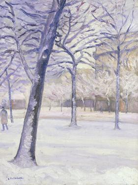 Parc sous la Neige, Paris, c.1888 by Gustave Caillebotte