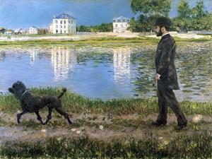 Richard Gallo and His Dog at Petit Gennevilliers, C1883-1884 by Gustave Caillebotte