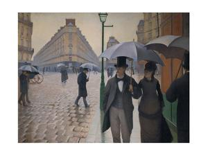 Rue de Paris; temps de pluie-A Paris street; rain. 1877, Oil on canvas, 212,2 x 276,2 cm. by Gustave Caillebotte