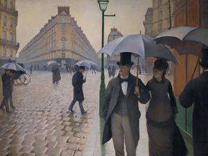 Rue de Paris; temps de pluie-A Paris street; rain. 1877, Oil on canvas, 212,2 x 276,2 cm. by Gustave Caillebotte