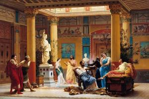 Rehearsal of Joueur De Flûte and La Femme De Diomède in the Atrium of Prince Napoleon's Pompeian by Gustave Clarence Rodolphe Boulanger