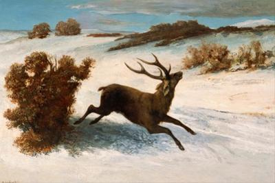 Deer Running in the Snow by Gustave Courbet
