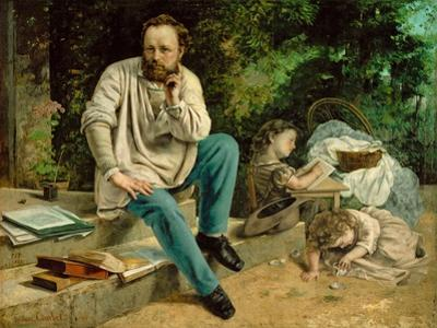 Pierre-Joseph Proudhon et ses enfants en 1863 - Pierre-Joseph Proudhon and his children, 1863. by Gustave Courbet