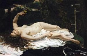 Woman with a Parrot by Gustave Courbet