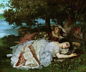 Young ladies on the banks of the Seine River. (1856). by Gustave Courbet