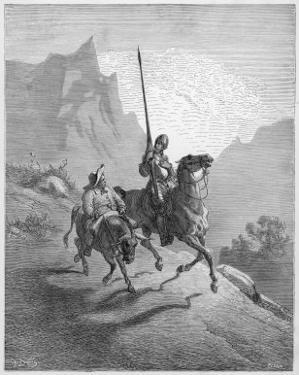 Don Quixote with Sancho Panza Riding Along a Mountain Pass by Gustave Dor?