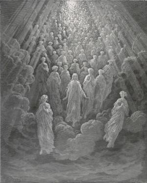 Huge Host of Angels Descend Through the Clouds in Paradise by Gustave Dor?