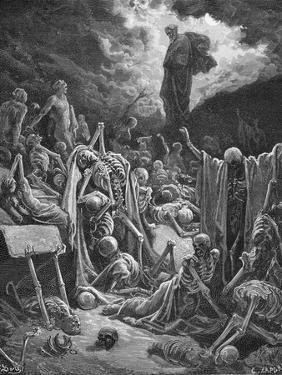 The Vision of the Valley of Dry Bones, Ezekiel 37:1-2, Illustration from Dore's 'The Holy Bible',… by Gustave Dor?