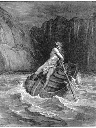 Charon the Ferryman Rowing to Collect Dante and Virgil, to Carry Them across the Styx, 1861