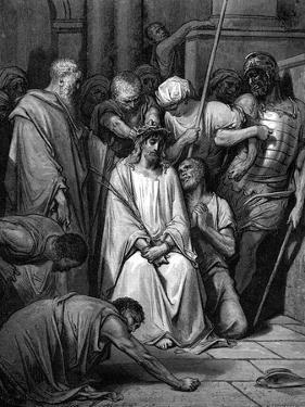 Christ Mocked and the Crown of Thorns Placed on His Head by Gustave Doré