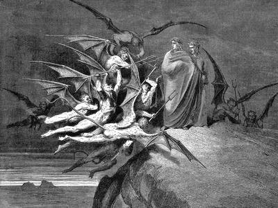 Dante and Virgil Beset by Demons on their Passage Through the Eighth Circle, 1861