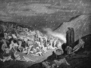 Dante and Virgil Looking Down Upon Souls in Torment in the Inferno, 1863 by Gustave Doré