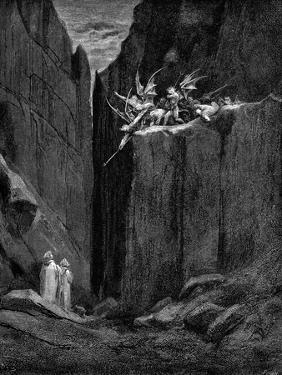 Dante Protected by Virgil from Harm by Demons, 1863 by Gustave Doré