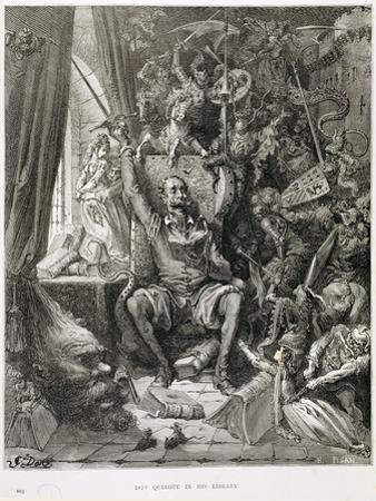 Don Quixote in His Library, Engraved by Heliodore Joseph Pisan (1822-90) C.1868 by Gustave Doré