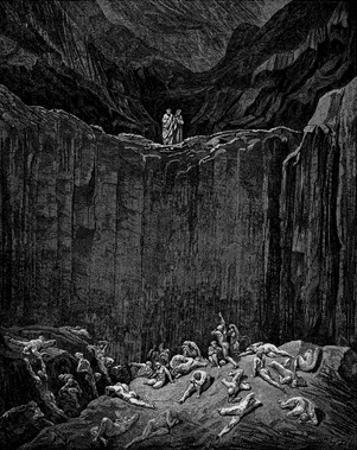 "Gustave Doré (Illustration to Dante's ""Divine Comedy,"" Inferno - Cliff) Art Poster Print"
