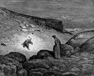 "Gustave Doré (Illustration to Dante's ""Divine Comedy,"" Inferno - Dante and Leopard) Art Poster Prin"