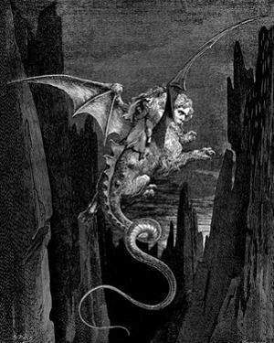 "Gustave Doré (Illustration to Dante's ""Divine Comedy,"" Inferno - Flying Beast) Art Poster Print"