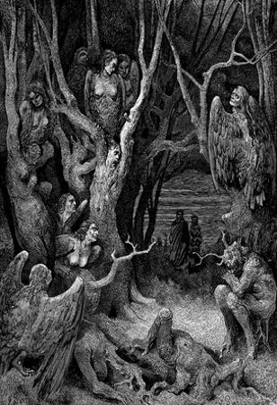 "Gustave Doré (Illustration to Dante's ""Divine Comedy,"" Inferno - Suicides) Art Poster Print"