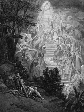Jacob's Dream of a Stairway Leading to Heaven with God at the Top, 1865-1866 by Gustave Doré