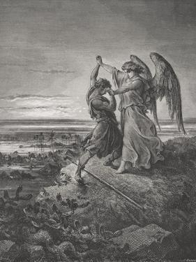 Jacob Wrestling with the Angel, Genesis 32:24-32, Illustration from Dore's 'The Holy Bible',… by Gustave Doré