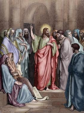 Jesus in the Synagogue by Gustave Dore