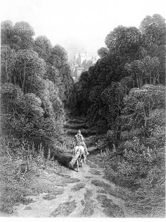 Lancelot Approaches Castle at Astolat, Illustration from 'Idylls of King' by Alfred Tennyson by Gustave Doré