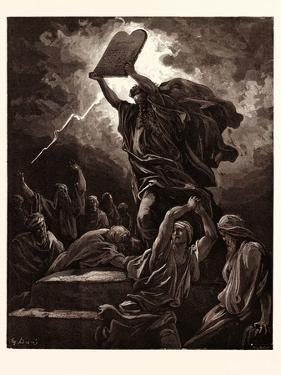 Moses Breaking the Tables of the Law by Gustave Dore
