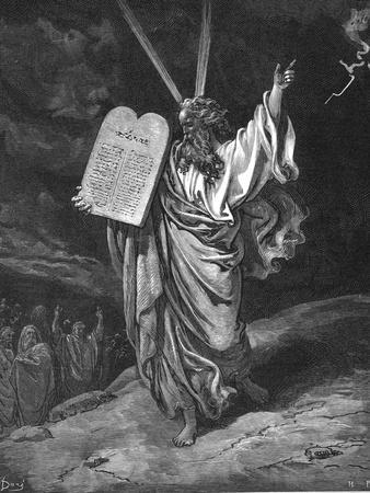 Moses Descending from Mount Sinai with the Tablets of the Law (Ten Commandment), 1866