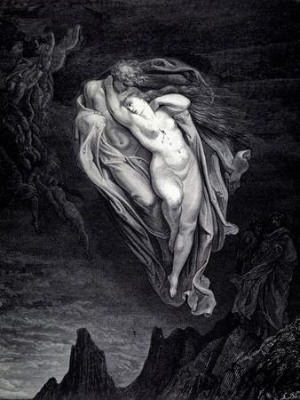 Paolo and Francesca in the whirlwind of lust and torture. From The Divine Comedy by Dante Alighieri