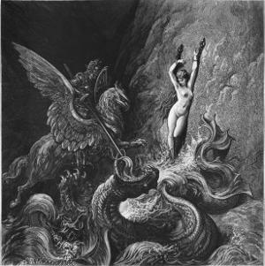 Ruggiero Rescuing Angelica, Illustration from Canto X of 'Orlando Furioso' by Ludovico Ariosto by Gustave Doré