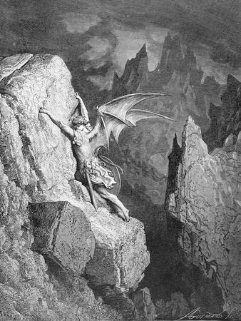 Satan's Flight Through Chaos, from 'Paradise Lost' by John Milton (1608-74) Engraved by Adolphe…