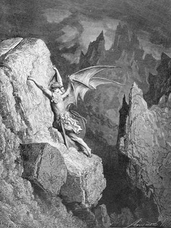 Satan's Flight Through Chaos, from 'Paradise Lost' by John Milton (1608-74) Engraved by Adolphe… by Gustave Doré