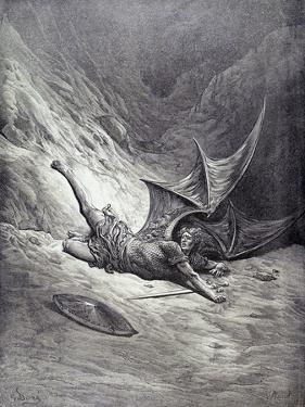 Satan Smitten by Michael, from Book VI of 'Paradise Lost' by John Milton (1608-74) Engraved by… by Gustave Doré