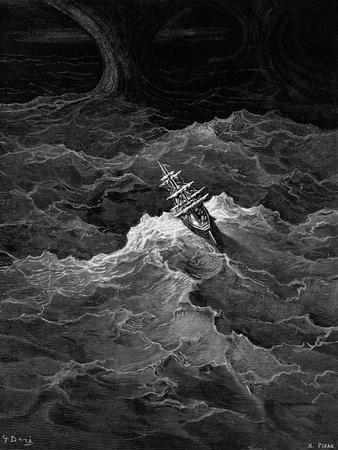 Ship in Stormy Sea