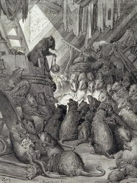 The Council Held by the Rats, from the Fables of La Fontaine, Engraved by Antoine Valerie… by Gustave Doré