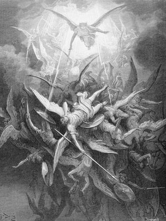 The Fall of the Rebel Angels, from Book I of 'Paradise Lost' by John Milton (1608-74) C.1868 by Gustave Doré