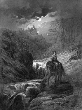 The Moonlight Ride, Illustration from 'Idylls of the King' by Alfred Tennyson, 1868 by Gustave Doré