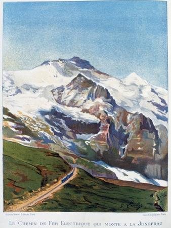 The Electric Railroad to Mount Jungfrau, Swiss Alps, 19th Century by Gustave Francois Lasellaz