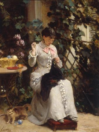 The Young Seamstress by Gustave Francois Lasellaz
