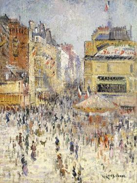 Bastille Day on Rue De Clignancourt, Paris; La Quartorze Juillet a Paris, La Rue De Clignancourt by Gustave Loiseau