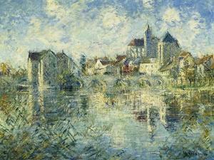 Moret-Sur-Loing, the Bridge and the Church; Moret-Sur-Loing, Le Pont Et L'Eglise, C.1935 by Gustave Loiseau