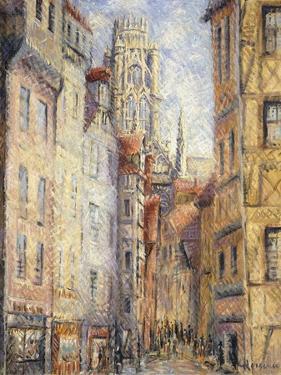 Rouen, a Street by the Church; Rouen, Rue Avec L'Eglise, C.1920 by Gustave Loiseau