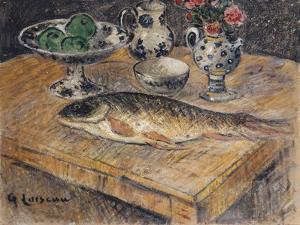Still Life with Fish, Flowers and Apples; Nature Morte Aux Poisson, Fleurs Et Pommes by Gustave Loiseau