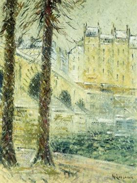 The Pont Marie in the Snow; Le Pont Marie, Effet De Neige, C.1926 by Gustave Loiseau